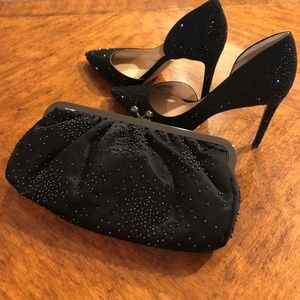 Black Satin & Beaded Evening Bag